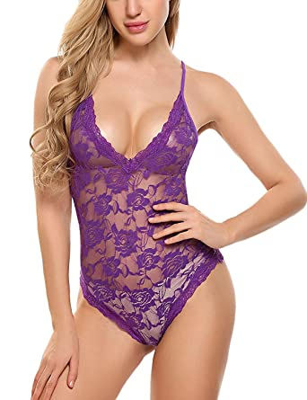 4f13229758 Sweetnight Women Sexy Lingerie One Piece Lace Bodysuit Deep V Teddy Lingere  - Purple -  Amazon.co.uk  Clothing