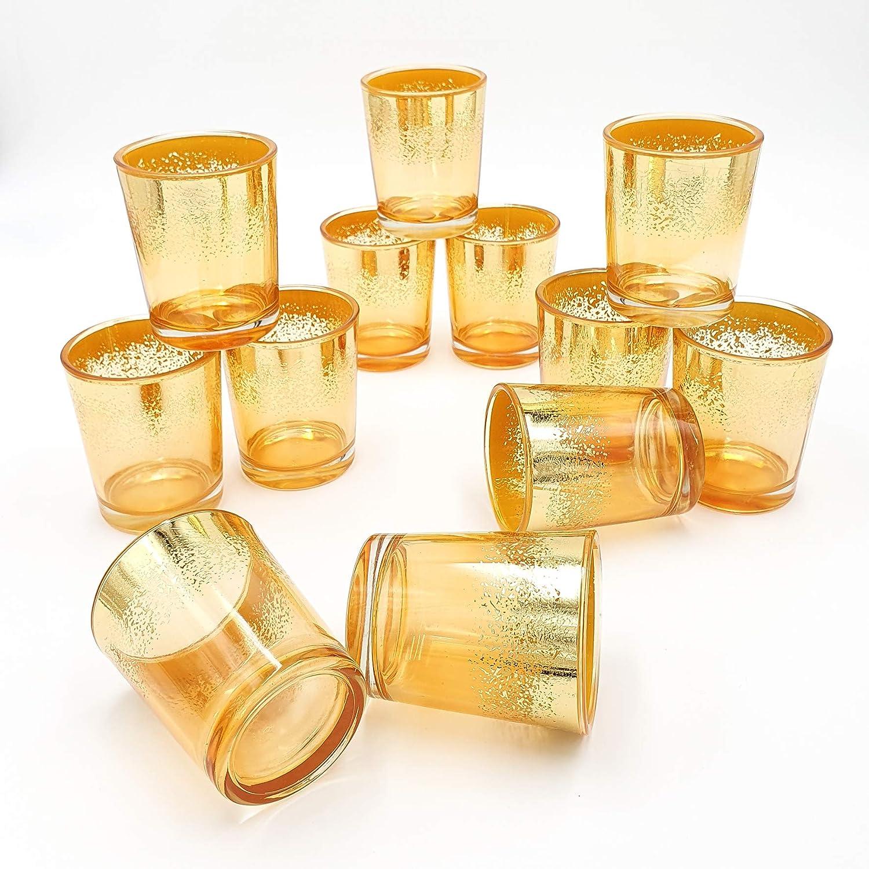 OVLUXE Mercury Glass Votive Candle Holder 2.75