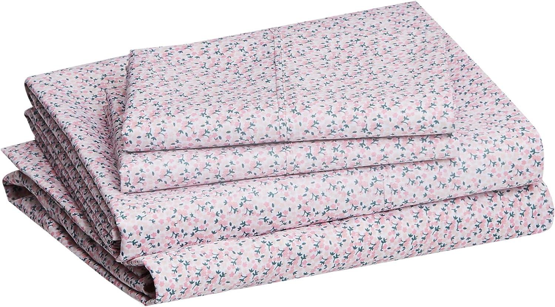 Amazon Basics Lightweight Purple Mini Floral Bed Sheet