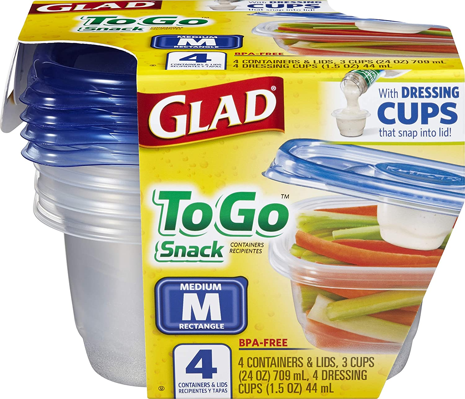 Glad Food Storage Containers - To Go Lunch Container - 32 Ounce - 4 Containers