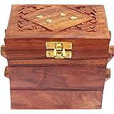 Itos365 Handmade Wooden Jewellery Box For Women Jewel Organizer Flower Decor