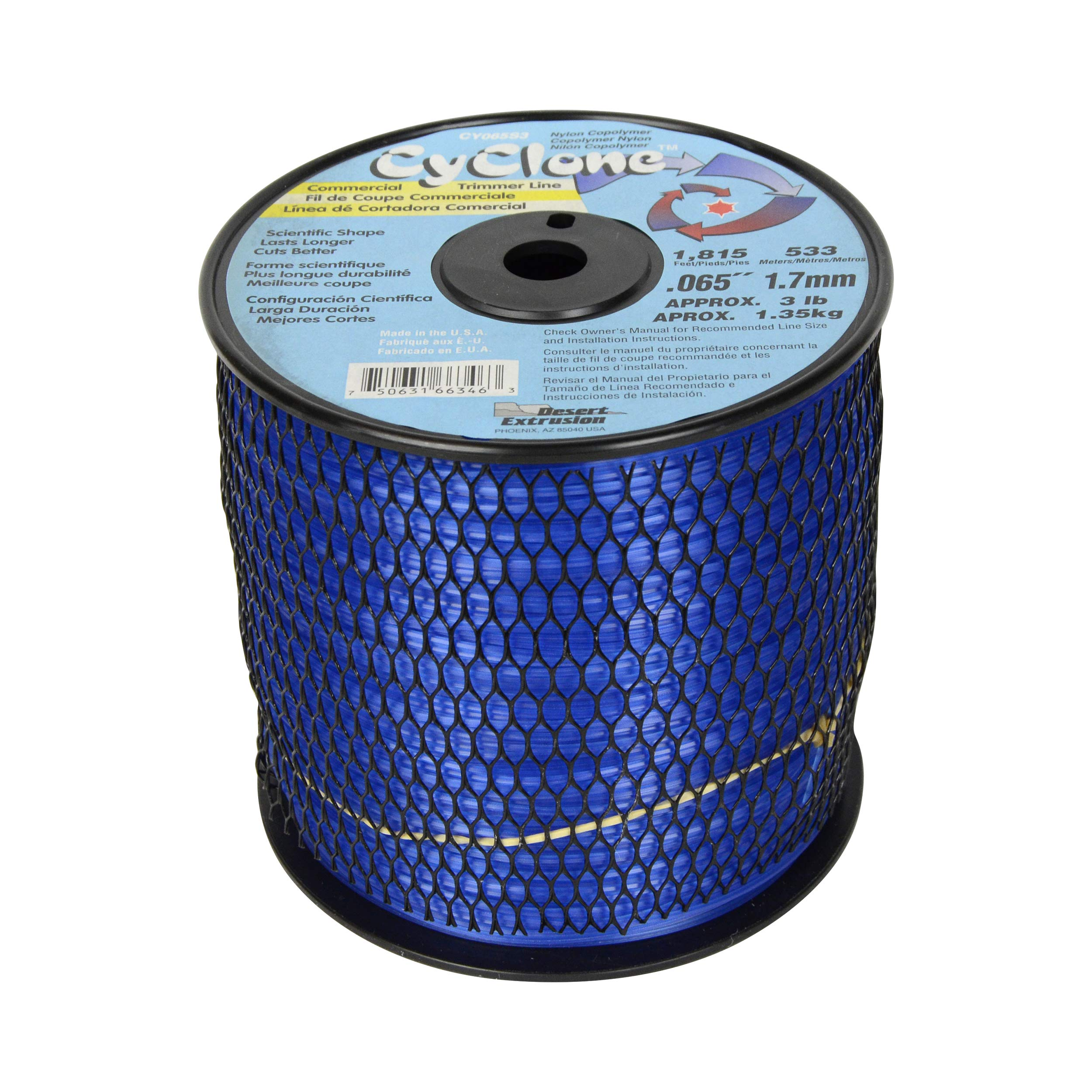 Cyclone .065-Inch 3-Pound Spool Commercial Grade 6-Blade Grass Trimmer Line, Blue CY065S3-2 by Cyclone