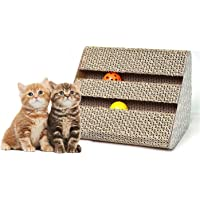 Cat Scratch Pad,Scratcher with Catnip,Scratching Posts,Cat Toy Scratch Board Lounge with Bell-Ball (11'' x 9.4'' x 7'')