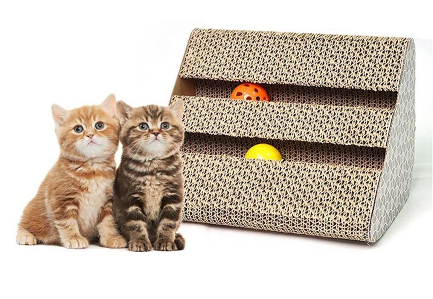 Old Tjikko Cat Scratch Pad,Triangle Scratcher with Catnip,Scratching Posts,Cat Toy Scratch Board Lounge with Bell-Ball (11'' x 9.4'' x 7'') by Old Tjikko