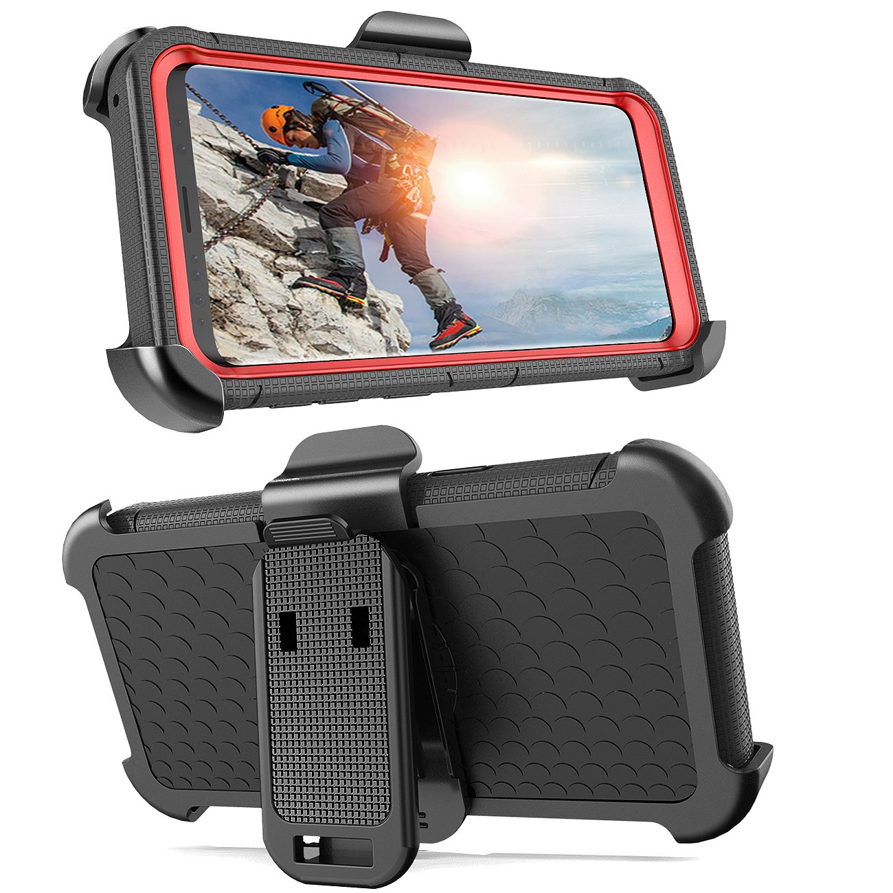 Hybrid Shockproof Kickstand Swivel Belt Clip Holster Protective Full Body Rugged Silicone Cover Case for Samsung S9 Case S9 Case BENTOBEN Galaxy S9 Case Black//Red