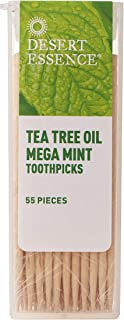 product image for Desert Essence Tea Tree Oil Mega Mint Toothpicks - 55 Pieces - Australian Tea Tree Oil - Refreshes Mouth - Infused Pure Mint Oils - On The Go - Food Residue & Buildup Removal