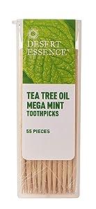 Desert Essence Tea Tree Oil Mega Mint Toothpicks - 55 Pieces - Australian Tea Tree Oil - Refreshes Mouth - Infused Pure Mint Oils - On The Go - Food Residue & Buildup Removal