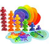 Skoolzy Stacking Frogs Counting Toys. Educational Back to School Activities. Montessori Toy for Toddlers with Matching Lily P
