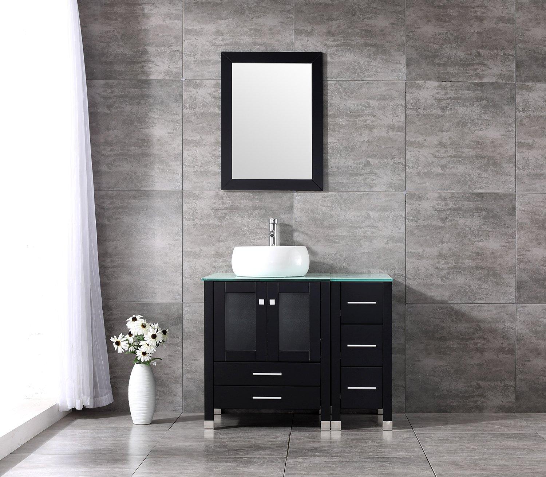 Walcut 36 Inch Wide Bathroom Vanity With Cylinder White Vessel Sink W/ Mirror Set