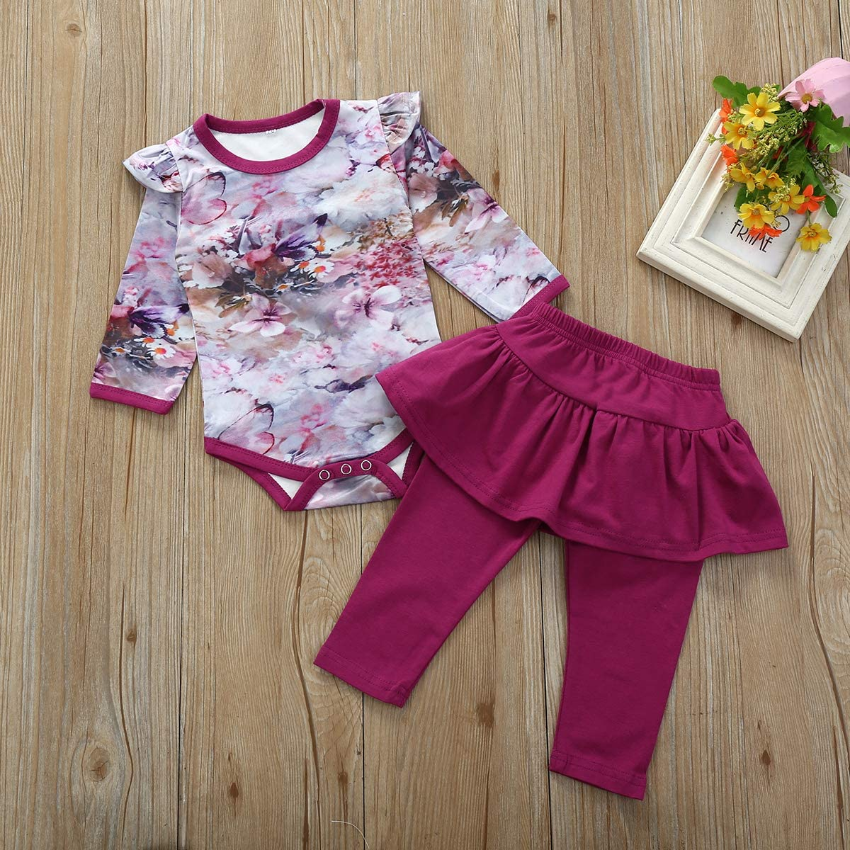 Mubineo Baby and Toddler Girl Spring Summer Floral Printed Comfy Cotton Linen Casual Pants
