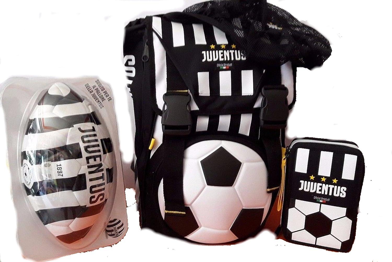 Juventus Schoolpack - Mochila Extensible + balón + Estuche: Amazon ...