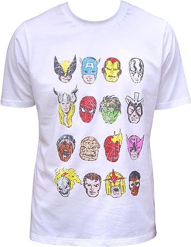 Marvel Los Hombres Comics Los Vengadores superhéroes algodón Camiseta Top Blanco White Avengers Small: Amazon.es: Ropa y accesorios