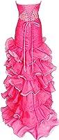 Beaded Organza High-Low Ruffle Prom Pageant Dance Dress, Medium, Hot-Pink