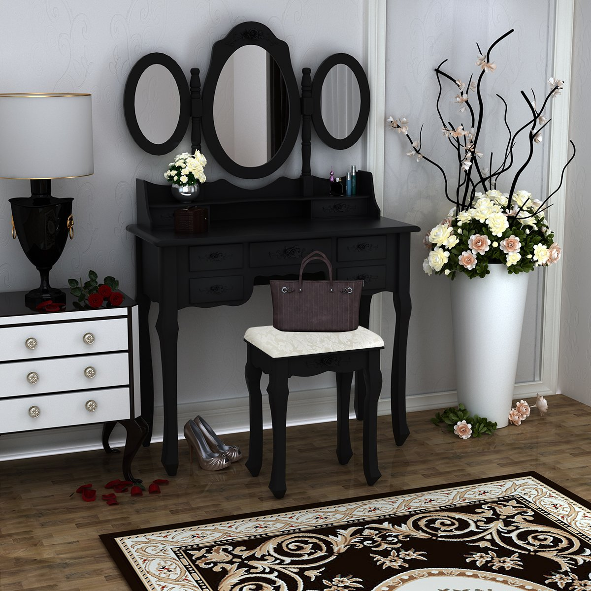 PananaHome Modern Dressing Table with Stool 7 Drawers and Oval Mirror Wood Makeup Vanity Dresser Set Girls Bedroom White