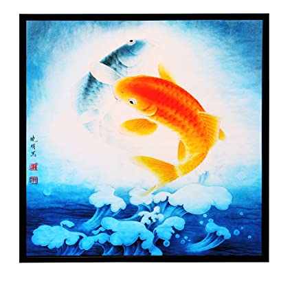INK WASH Pictures Of 2 Lucky Feng Shui Carp Koi Fish Painting Oriental  Gifts Wood Framed