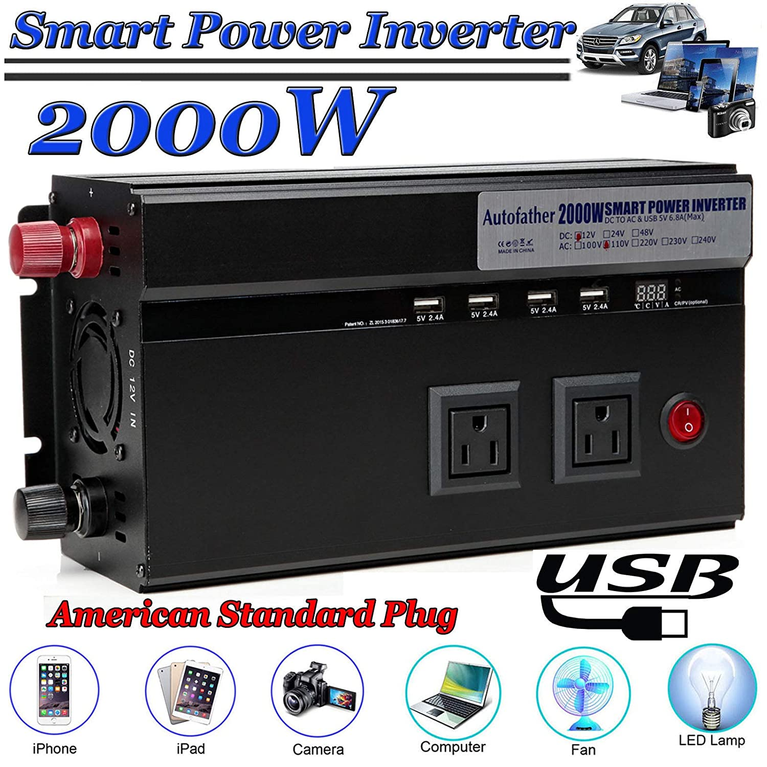 2000 Watt DC 12V Power Inverter Adapter Converter, Heavy Duty Dual 110V AC Outlets, Digital Display Automotive Back Up Power Supply Car Inverter with Two Cigar Battery Connector Line