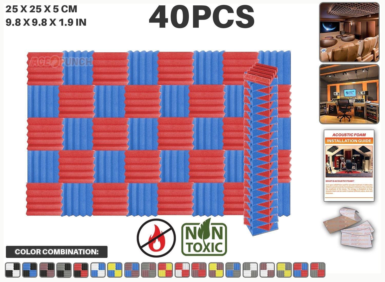 Ace Punch 40 piezas ROJO y AZUL Cuña Studio Foam Panel Aislamiento Acústico Tratamiento Espuma Acústica con lengüetas de montaje libre 25 x 25 x 5 cm ...
