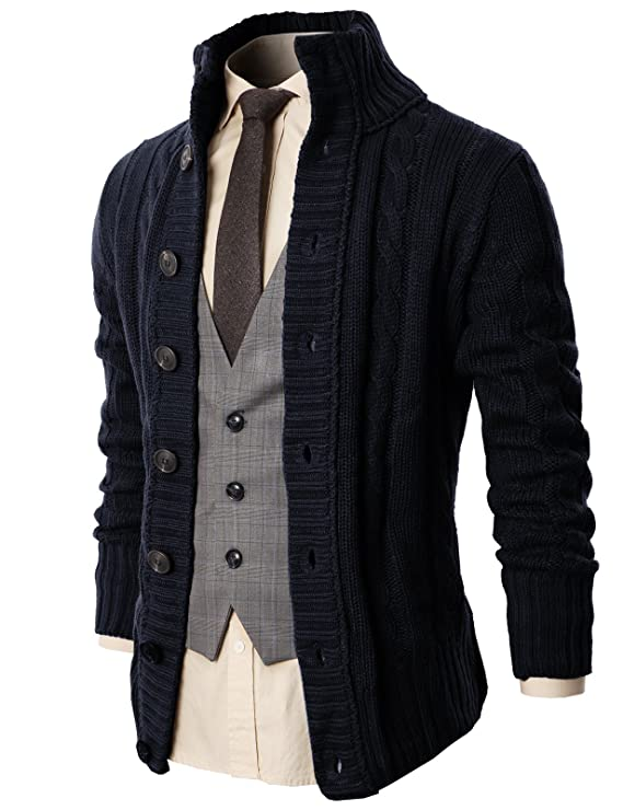 H2H Mens Casual Regular Fit Shawl Collar Open-Front Lightweight Long Cardigan Navy US 2XL/Asia 3XL (KMOCAL020) best men's sweaters