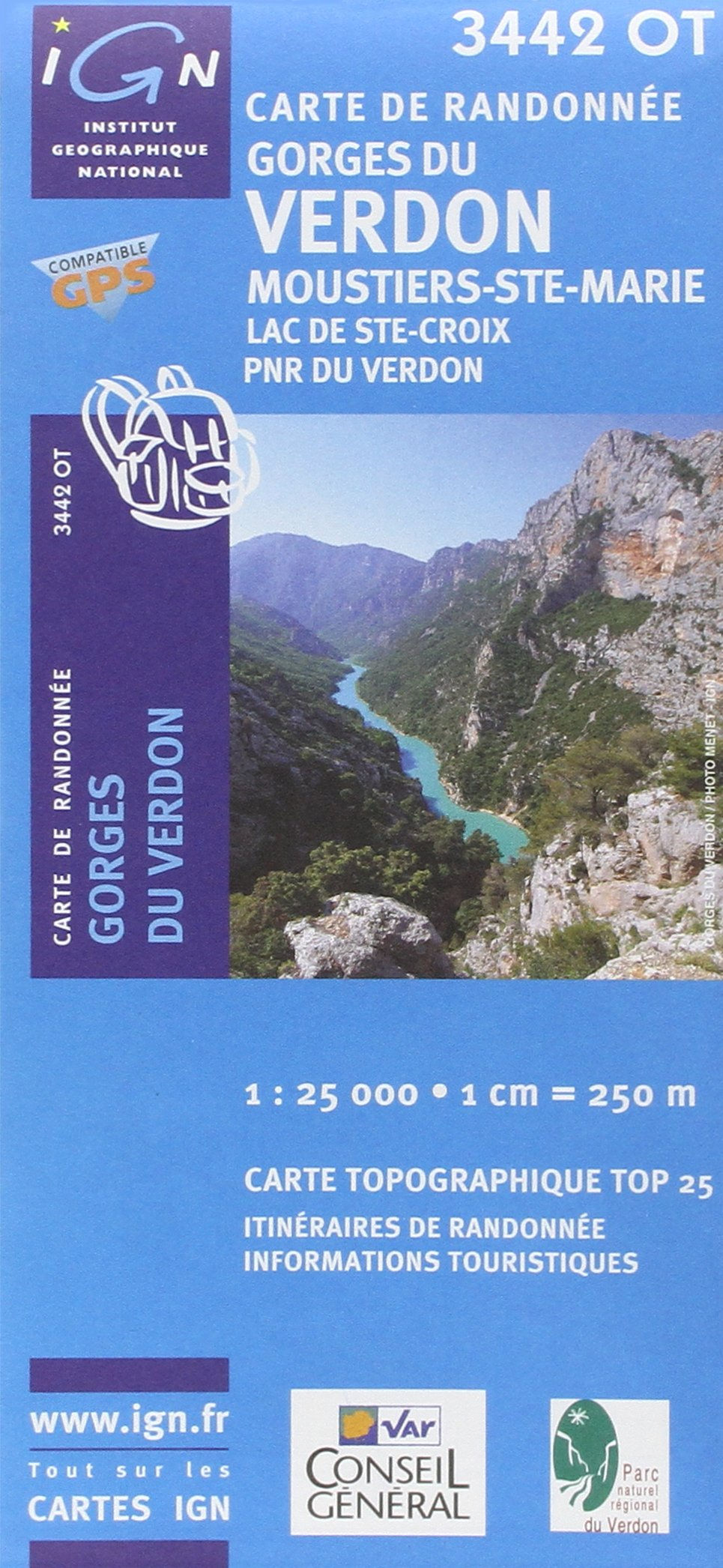 IGN Karte, Carte de randonnée (et plein air) Gorges du Verdon, Moustiers-Ste-Marie