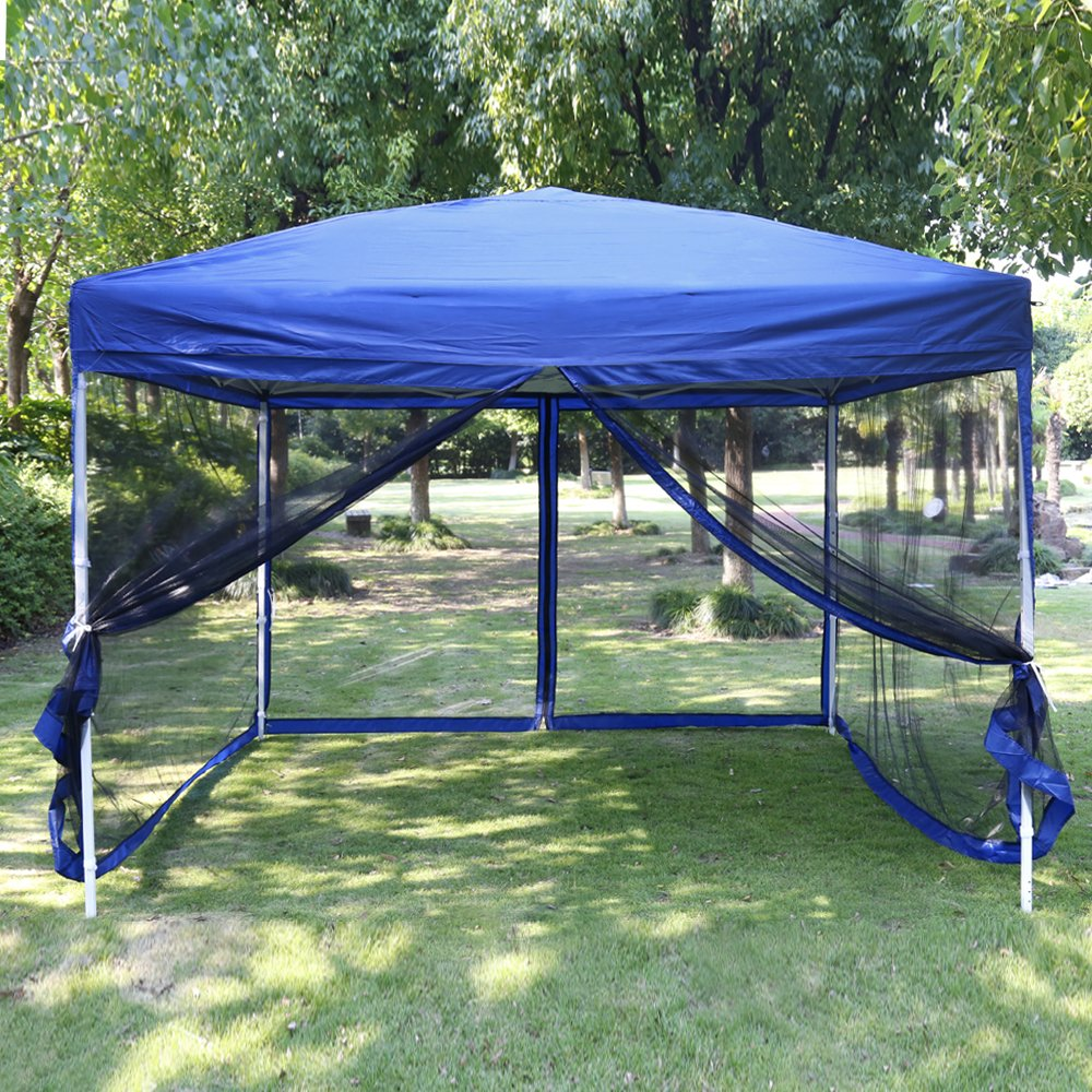 VIVOHOME Outdoor Easy Pop Up Canopy Screen Party Tent with Mesh Side Walls Blue 10 x 10 ft by VIVOHOME (Image #2)