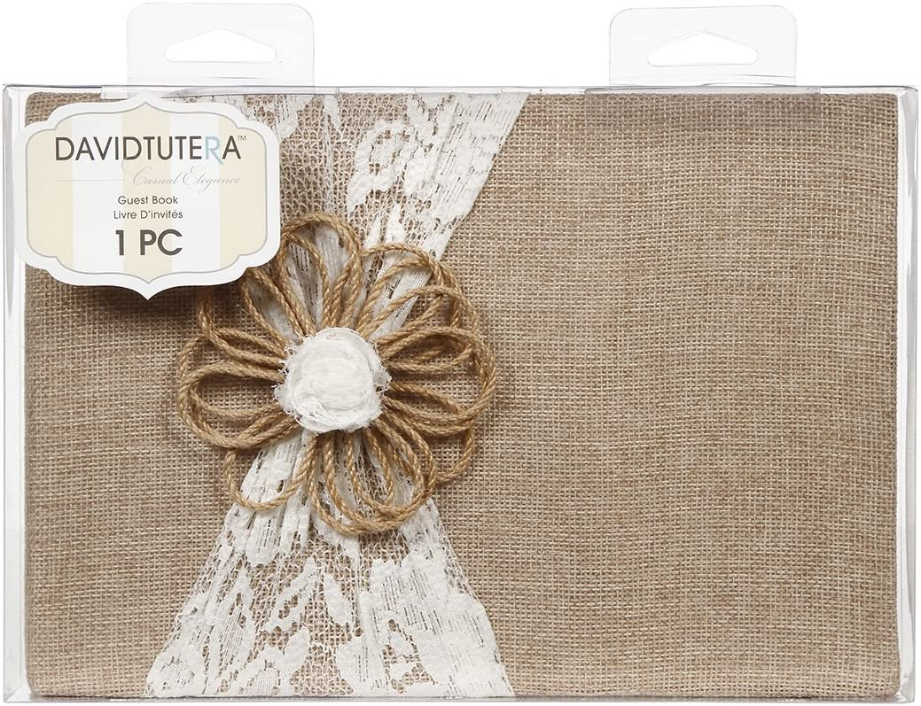 Burlap Guest Book Lace Wedding Rustic Country Charm Reception Bridal Gift Sign