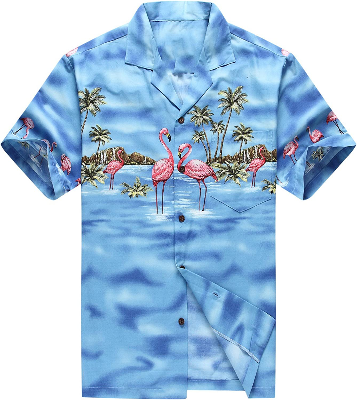 Hecho en Hawaii Camisa Hawaiana de los Hombres Camisa Hawaiana Flamencos Rosados Azul: Amazon.es: Ropa y accesorios