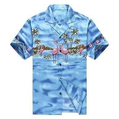 59d863f6 Made in Hawaii Men's Hawaiian Shirt Aloha Shirt S Pink Flamingos Blue