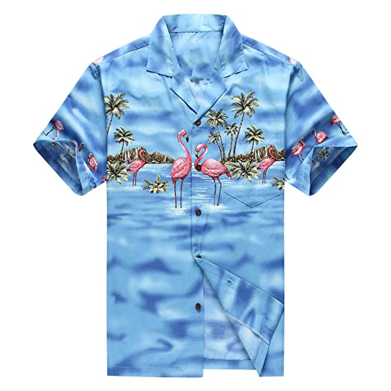 ffd7739ec9d Made in Hawaii Men s Hawaiian Shirt Aloha Shirt Pink Flamingos Blue ...