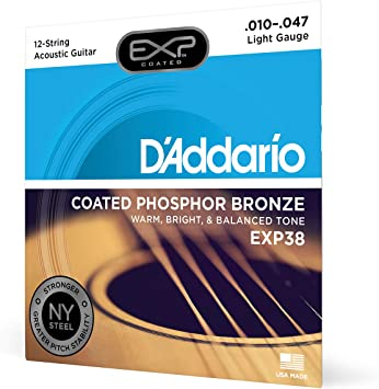 D/'Addario EJ38 Light 12-String Phosphor Bronze Acoustic Guitar Strings 10-47