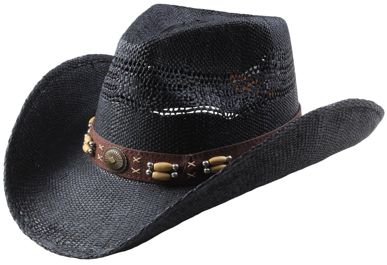 Queue Essentials Classic Straw Cowboy Cowgirl Hat Western Outback with Wide Brim - L