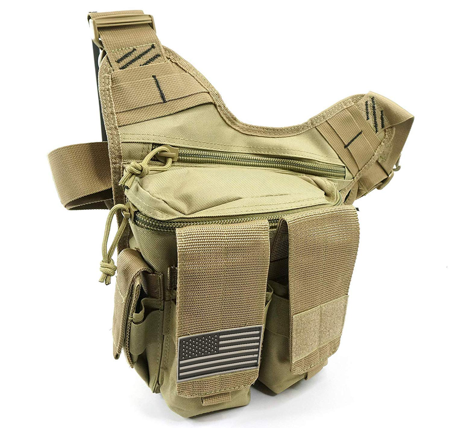 NiceAndGreat Tactical Bag Rapid Outdoor Range Sling Pack for Handguns and Pistols Quality Chest Pack Holster Included (Tan) by NiceAndGreat