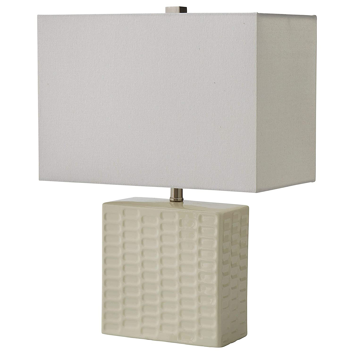 """Stone & Beam Modern Square Textured Lamp With Bulb, 20.3""""H, White"""
