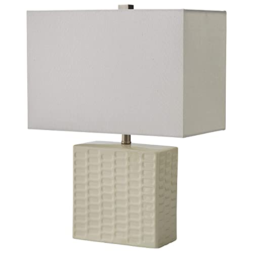 Stone Beam Modern Square Textured Lamp With LED Light Bulb – 15 x 8 x 20.3 Inches, White