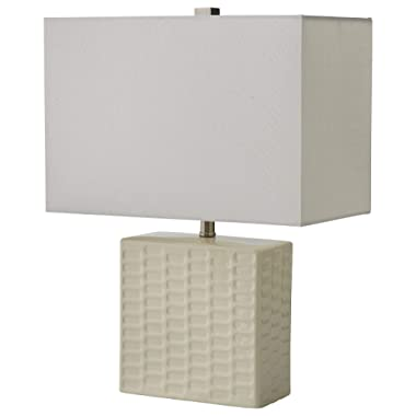 Stone & Beam Modern Square Textured Lamp With Bulb, 20.3 H, White
