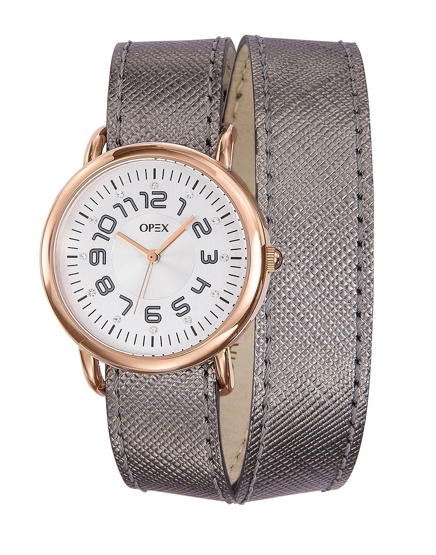 Opex X3866LA1 CavaliÈre Damen-Armbanduhr - analoges Quarzuhrwerk - graues Zifferblatt - graues Lederarmband