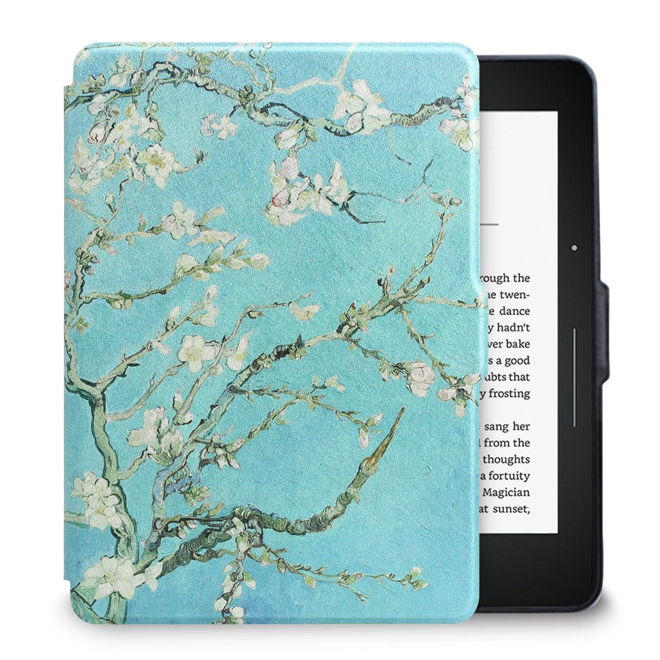 Walnew Protective case for Amazon Kindle Voyage(2014) The Thinnest and Lightest Colorful Painting PU Leather Cover with Auto Sleep/Wake Function,Tree and Flower