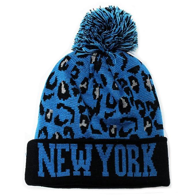 Amazon.com  City Hunter Sk950 Leopard Pom Beanie Ski Hat - New York ... e9ee08941df