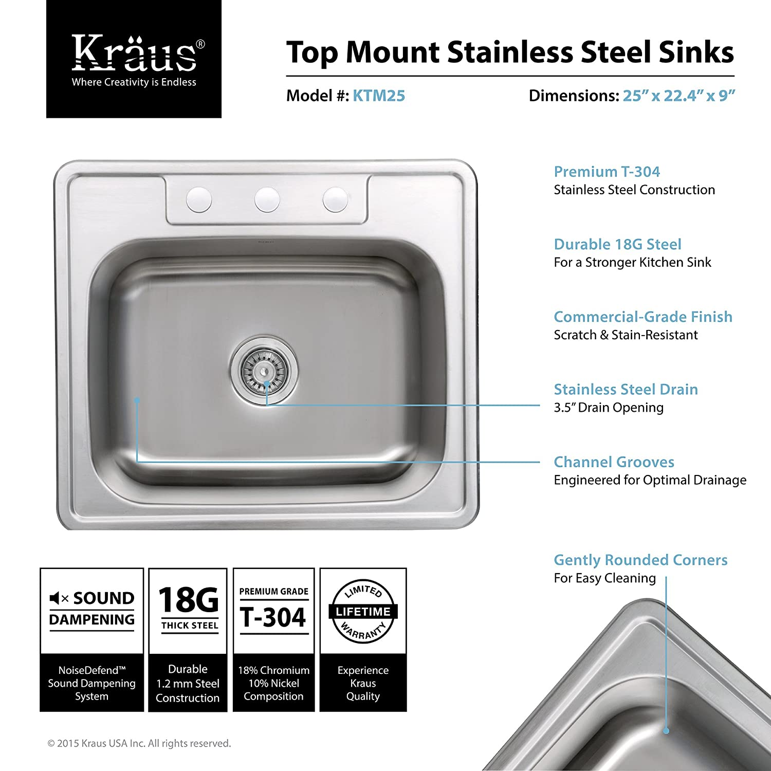 Kitchen sink dimensions - Kraus Ktm25 25 Inch Topmount Single Bowl 18 Gauge Stainless Steel Kitchen Sink Double Bowl Sinks Amazon Com