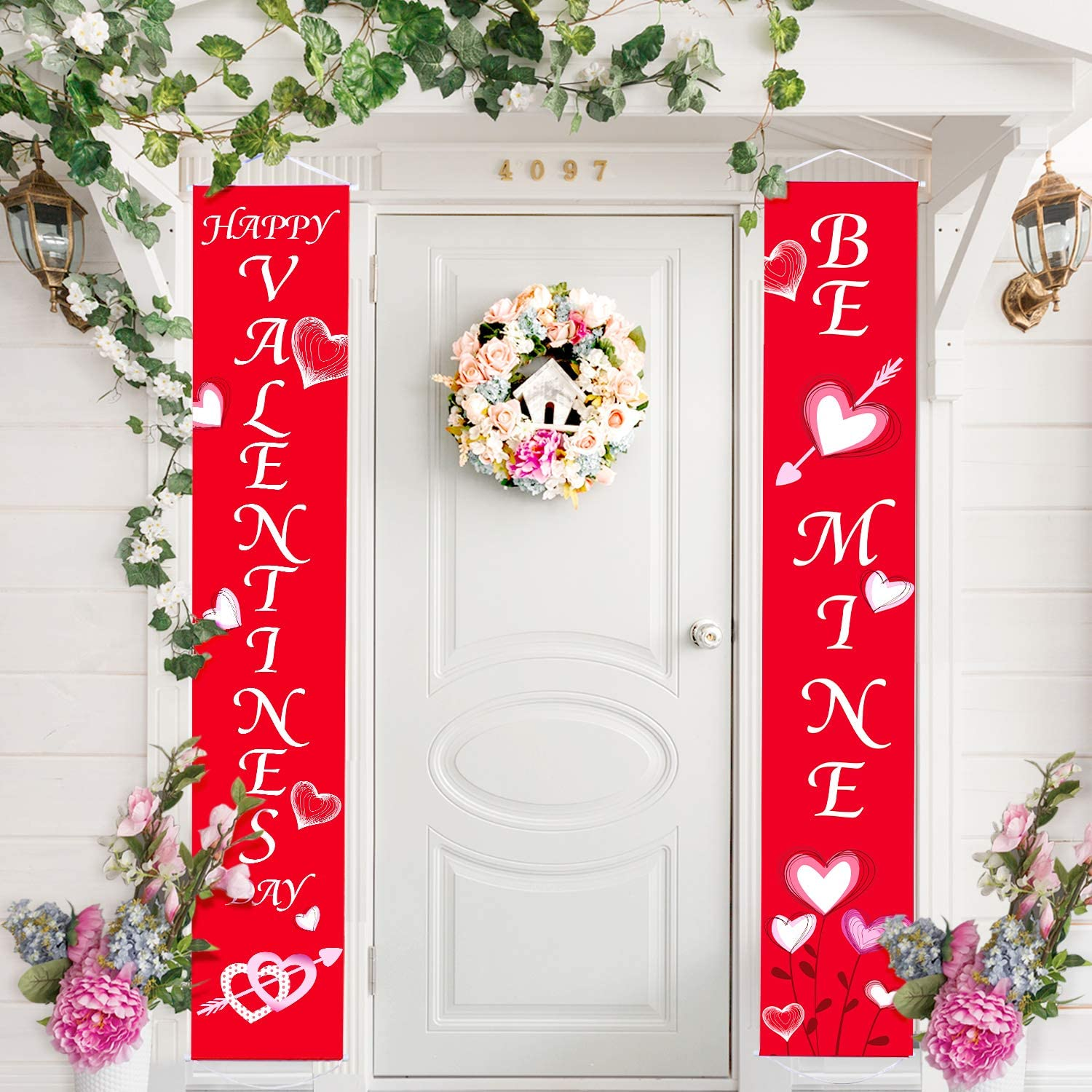 Blulu Valentine Decoration Set Valentines Day House Flag Heart Valentines Garden Flag Banner Valentine Porch Sign for Indoor/Outdoor Decorative Love Welcome House Flag Banner Party Supplie (Color 8)