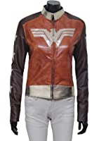 Wonder Woman Brown Waxed Leather Jacket - Perfect for Costumes and Cosplay Outfit Clothing