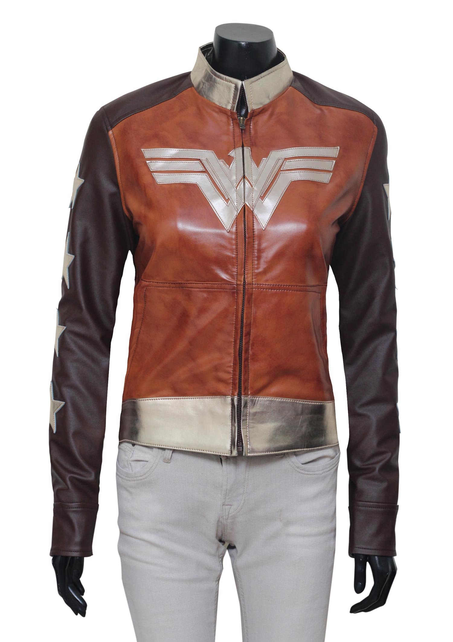 Decrum Wonder Woman Dress Brown Waxed Leather Jacket Costumes (XL, Brown Waxed Jacket)