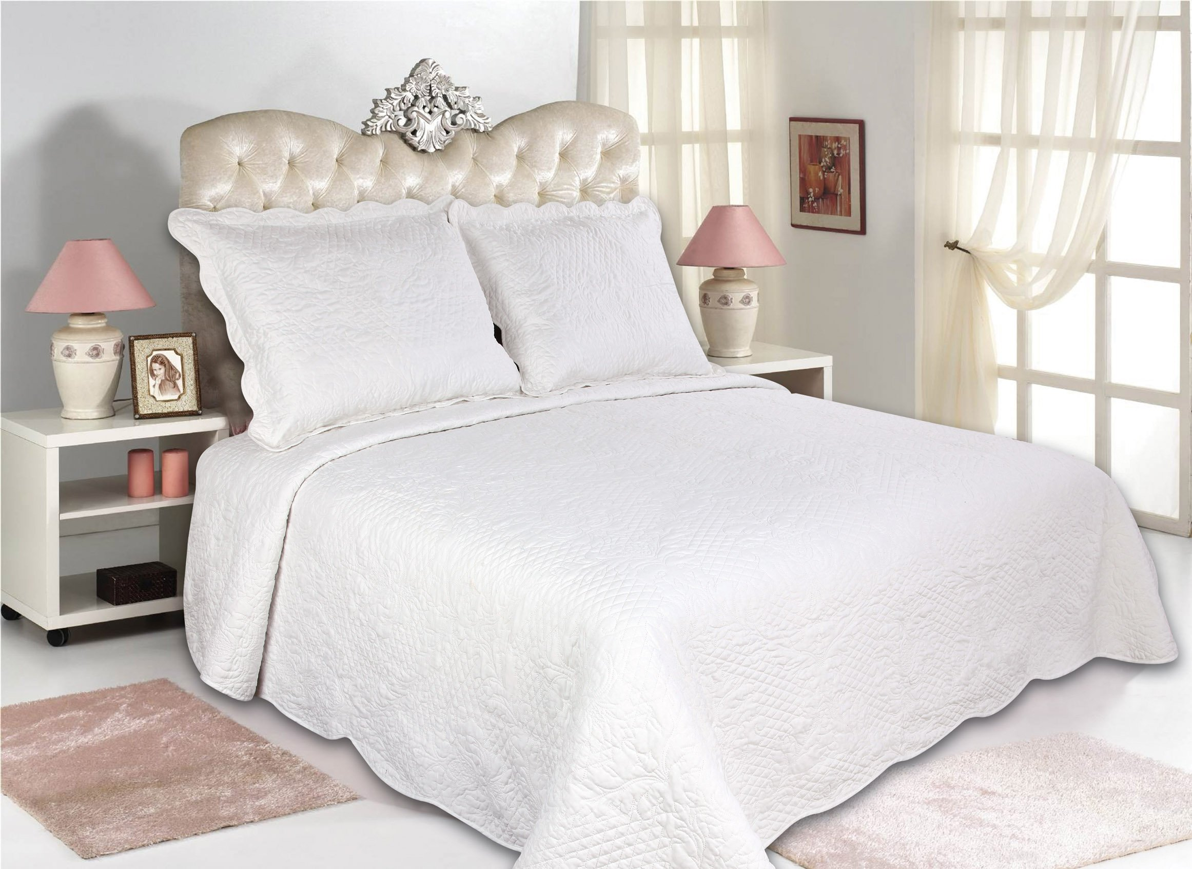 All for You 3pc Reversible Quilt Set, Bedspread, and Coverlet-86''x 86''-white color