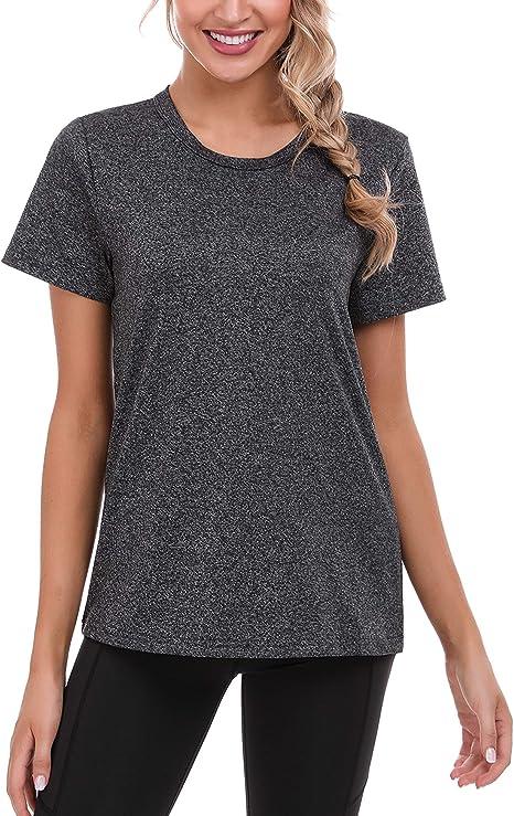 ADOME Damen Sport Fitness T-Shirt Kurzarm Sportshirt Schnell Trocken Yoga Gym Shirts Running Top Laufshirt Funktion Shirt Elatisch