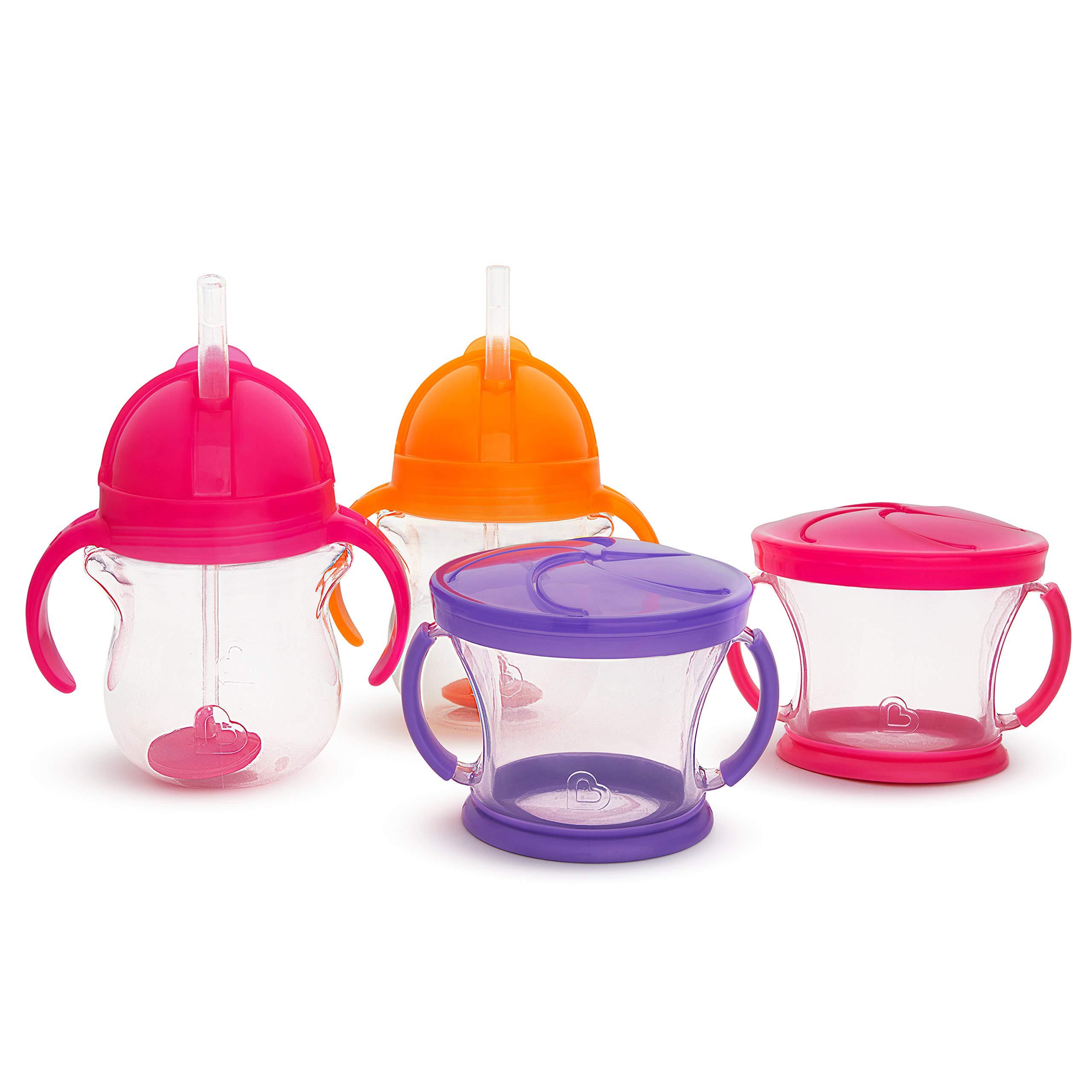 Munchkin Happy Snacker Snack Catcher & Sippy Cup Set, 4 Pack, Pink/Purple/Orange by Munchkin