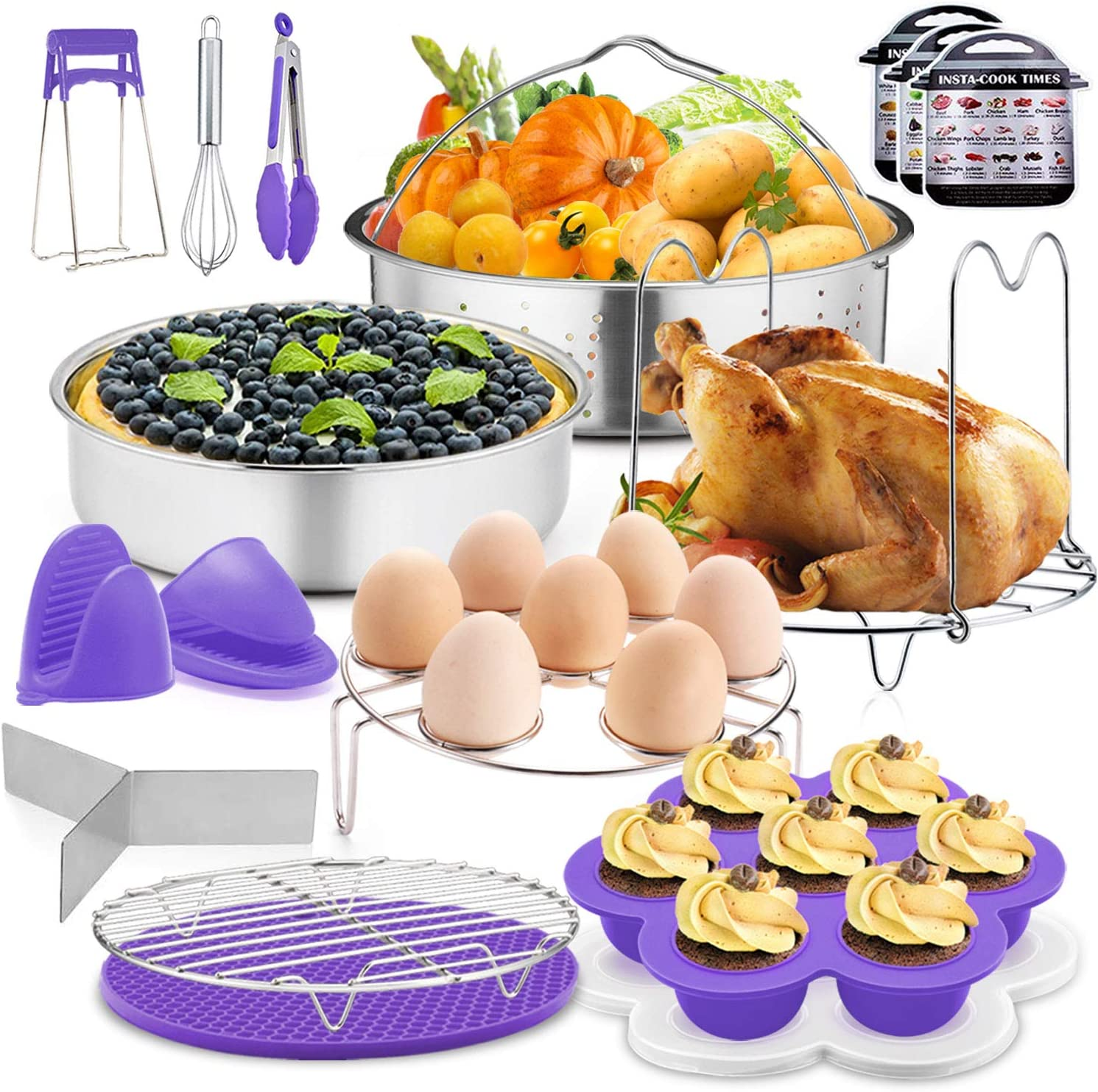 17Pcs Instant Pressure Cooker Pot Accessories Set, P&P CHEF Purple Steamer Accessory Kit, Fit 6/8 Qt Pot - Steamer Basket, Cake Pan, Egg Bites Mold, Egg Steamer Rack, Dish Clip and More Kitchen Tools