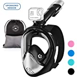 Full Face Snorkel Mask with Curved Face Design for Swimming Snorkeling Diving - 180 Degree Panoramic Sea View - Anti Fog Leak Proof - Scuba Gear - Dry Top Set - Easy Breath System for Women Men Adults
