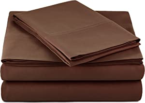 """AmazonBasics Lightweight Super Soft Easy Care Microfiber Sheet Set with 16"""" Deep Pockets - Twin XL, Chocolate, 4-Pack"""