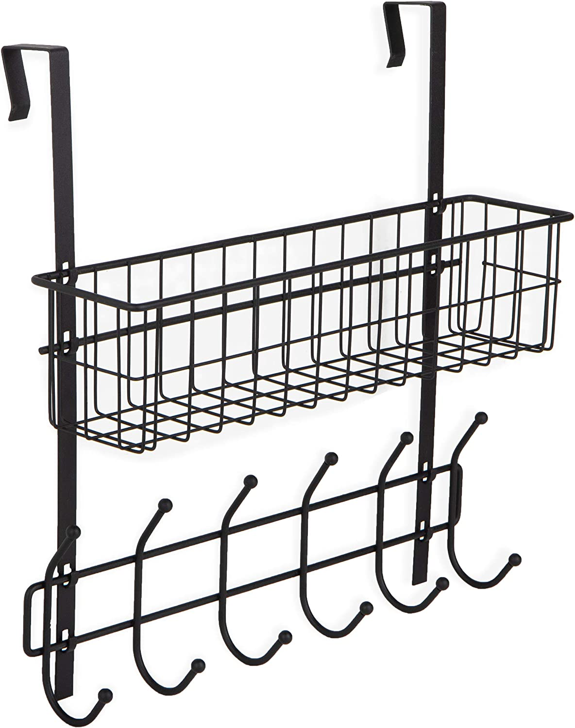 Wall35 Porta Over The Door Hook for Organization and Storage, Black Wire Basket with 6 Hooks