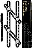 Universal Angularizer Ruler - Template Tool – Metal Multi-Angle Measurement Tool with Laser Engraving - Multifunction Pen - Black Aluminum Measuring Ruler Set for Carpenters Tilers Craftsmen DIY'ers