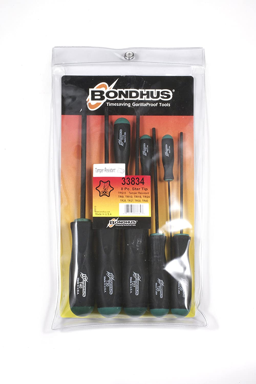 sizes T9-T40 Bondhus 33834 Set of 8 Tamper Resistant Stardriver Tools